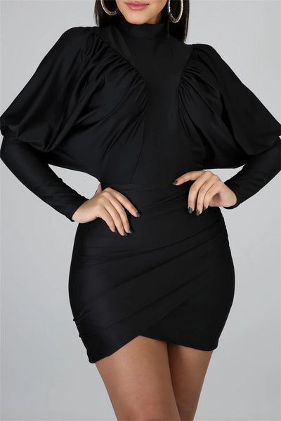 Solid Color Bat Sleeve Dress - ezcute