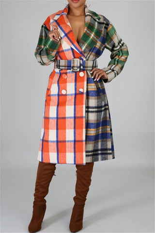 Lattice Printed Thicken Coat With Belt