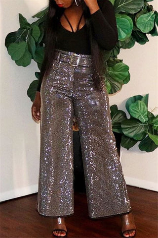 Gold Silk Wide Leg Pants