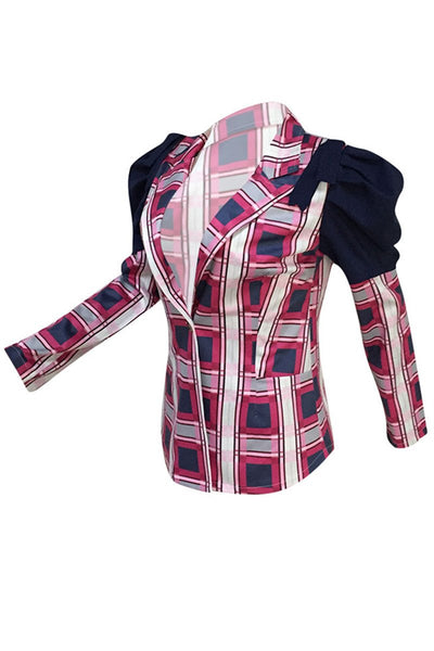 Ruched Shoulder Lattice Printed Blazer - ezcute