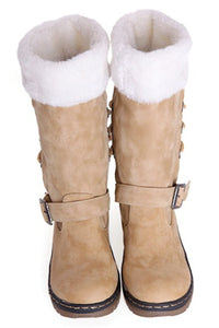 Fur Splicing Bandage Snow Boots - ezcute