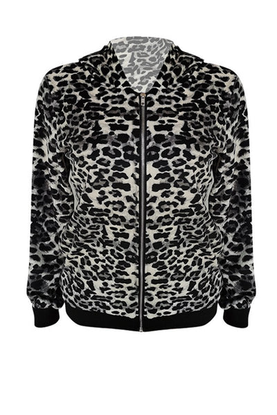 Leopard Printed Velvet Hooded Jacket - ezcute