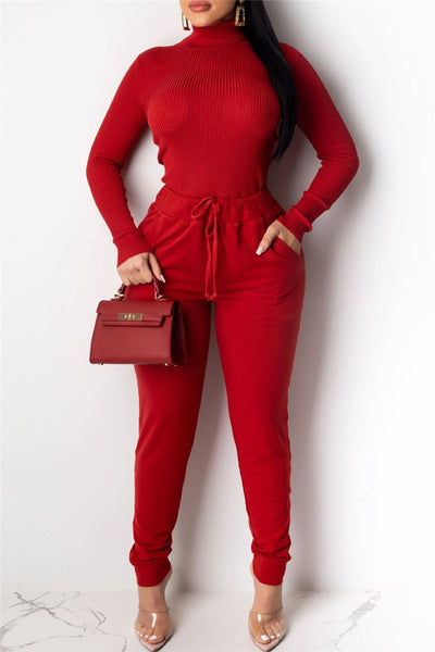 High Collar Sweater& Pants Sets - ezcute