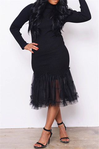 Net Yarn Splicing Sweater Dress - ezcute