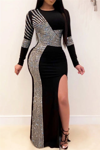Rhinestone Split Maxi Dress - ezcute