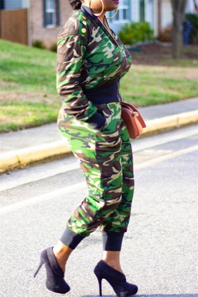 Casual Camo Printed Sets With Pockets - ezcute