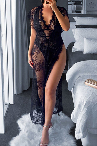 Sexy Lace Sheer Split Dress - ezcute