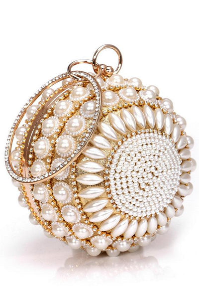 Pearl Studded Rhinestone Party Clutch - ezcute