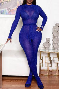 Gold Wire Sheer Jumpsuit With Belt - ezcute