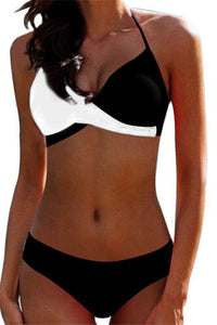 Color Splicing Halted Bikini Sets - ezcute