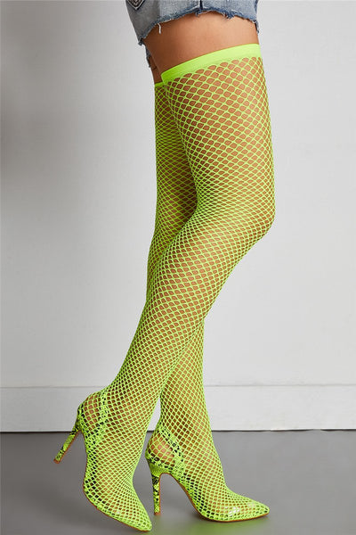 Over the Knee Mesh High Heel Boots - ezcute