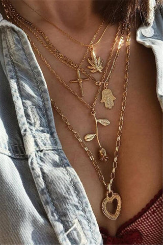 Trendy Layered Gold Necklace - ezcute