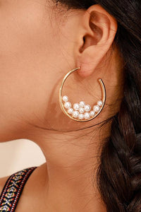 Pearl Gold Alloy Earring - ezcute