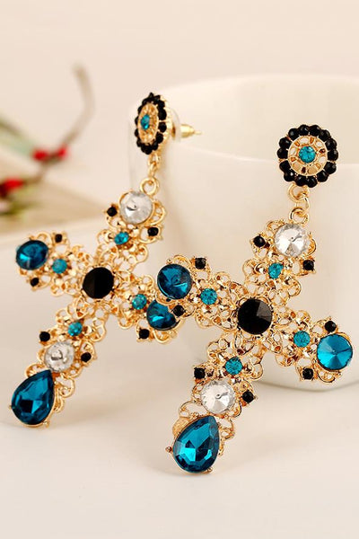 Cross Rhinestone Alloy Earring - ezcute