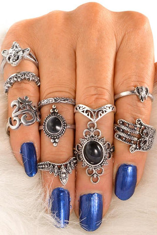 Trendy 10-piece Hollow Out Ring - ezcute