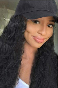 Long Curly Black Cap Wigs - ezcute