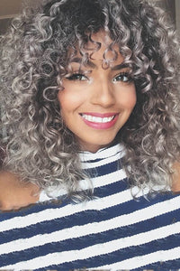 Color Changing Small Curly Gray Wigs - ezcute