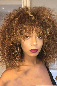 Small Curly Gold Hair Wigs - ezcute