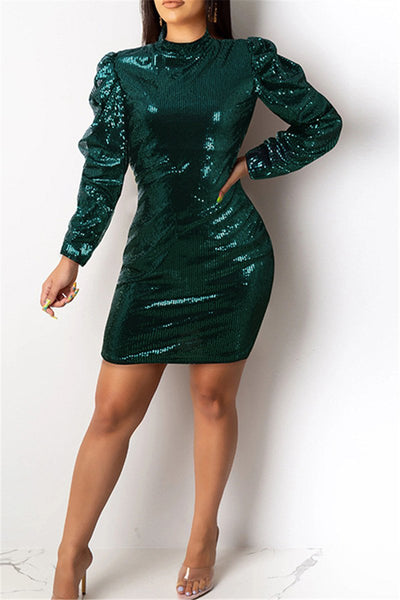 Double Layer Sleeve Sequin Dress - ezcute