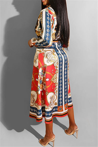 Casual Printed Shirt Dress With Belt - ezcute