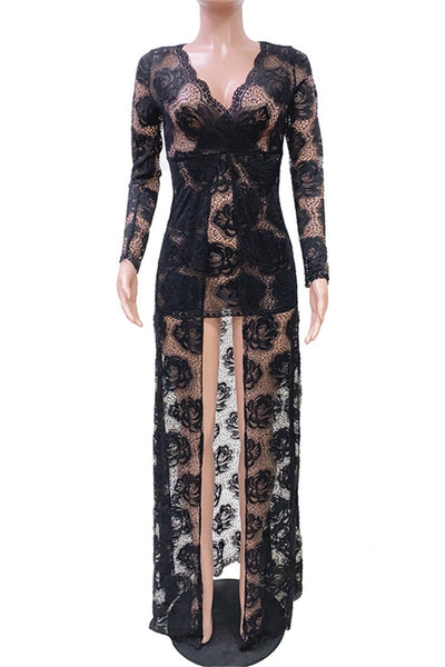 Embroidery Lace Double Layer Dress - ezcute