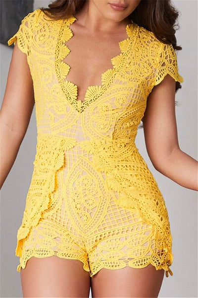 Solid Color Hollow Out Lace Romper - ezcute