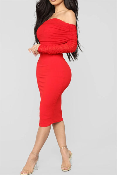 Solid Color Off Shoulder Ruched Dress - ezcute