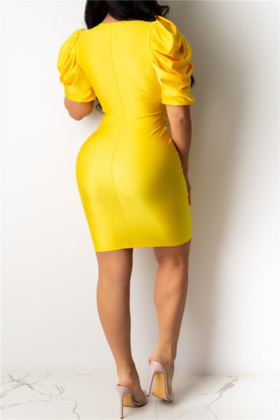 Solid Color Ruched Sleeve Dress - ezcute