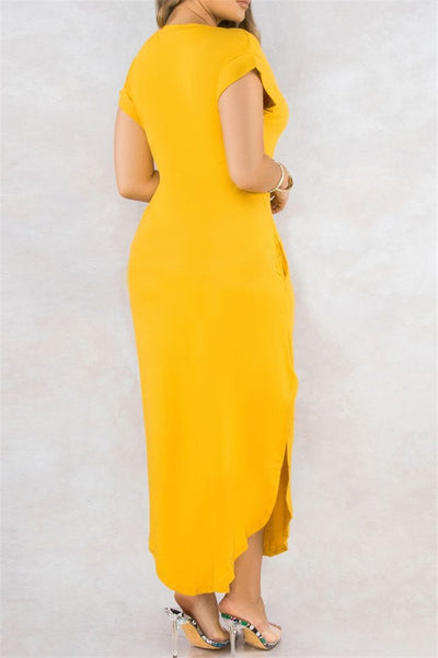 Solid Color Split Dress With Pockets - ezcute