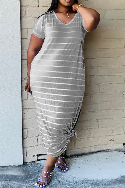 Casual Striped Split Dress With Pockets - ezcute