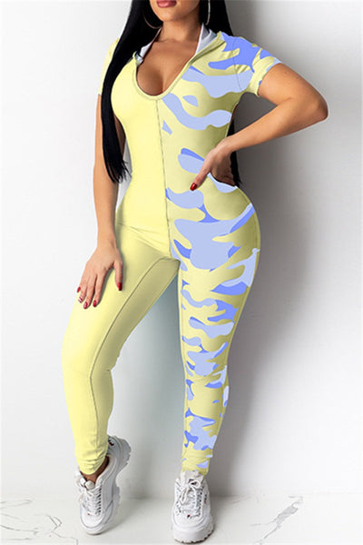 Color Splicing Hollow Out Jumpsuit - ezcute