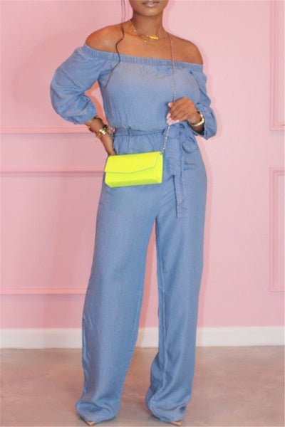 Solid Color Off Shoulder Jumpsuit - ezcute