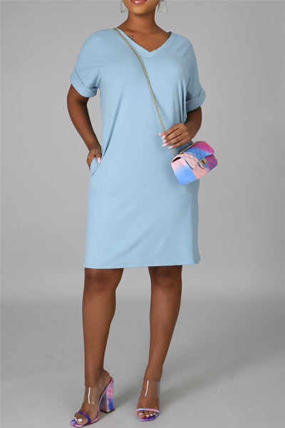 Solid Color Dress With Pockets - ezcute
