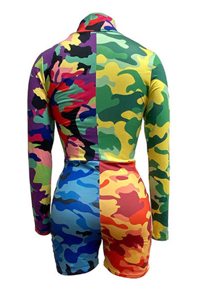 Color Splicing Camo Printed  Romper - ezcute
