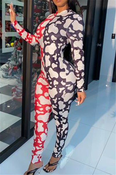 Color Splicing Printed Jumpsuit - ezcute