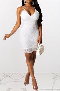 Lace Splicing Backless Dress - ezcute