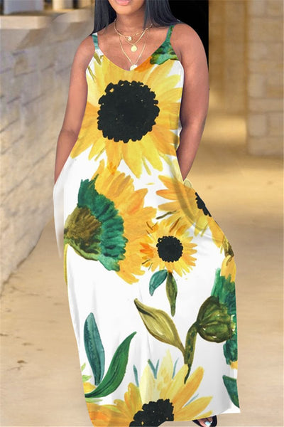 Sunflower Printed Maxi Dress - ezcute