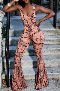 Printed Wide Leg Jumpsuit - ezcute