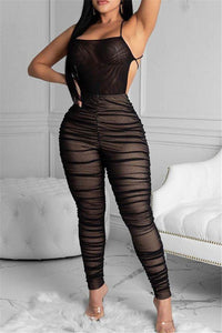Net Yarn Ruched Bandage Jumpsuit