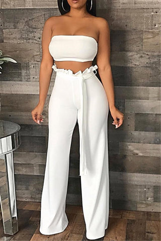 Solid Color Tube& Ruffle Pants Sets