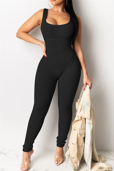 Solid Color Bodycon Cami Jumpsuit - ezcute