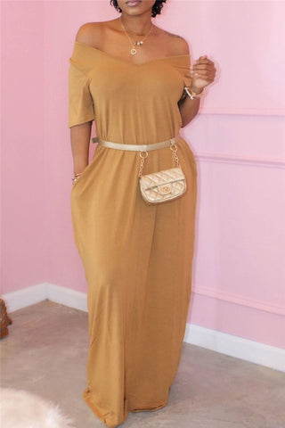 Solid Color Maxi Dress With Pockets