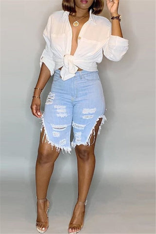 Distressed Split Denim Shorts