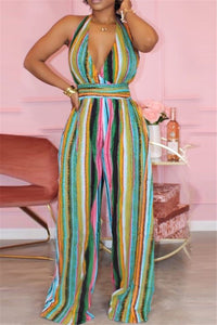 Stripe Halted Wide Leg Jumpsuit