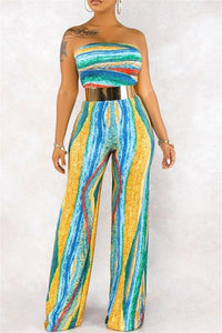 Tube Stripe Printed Jumpsuit