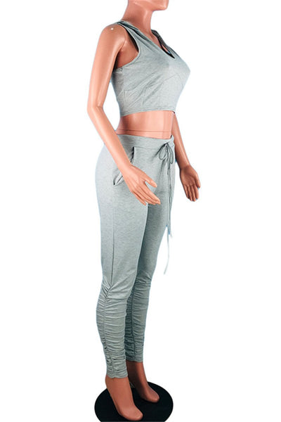 Hooded Top& Ruched Pants Sets