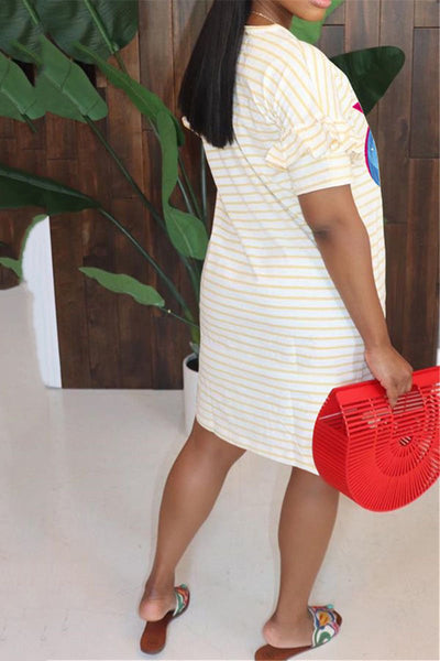 Casual Printed Stripe Dress