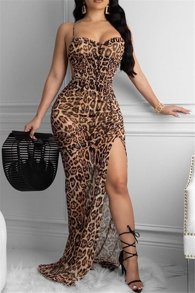 Leopard Printed Bandage Split Dress