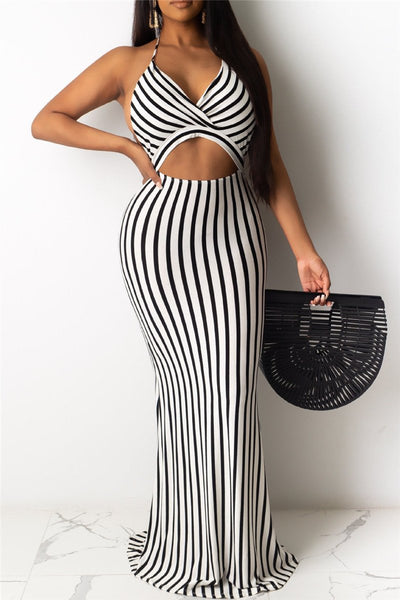 Stripe Hollow Out Backless Dress