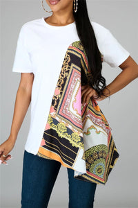 Casual Color Splicing Printed Top